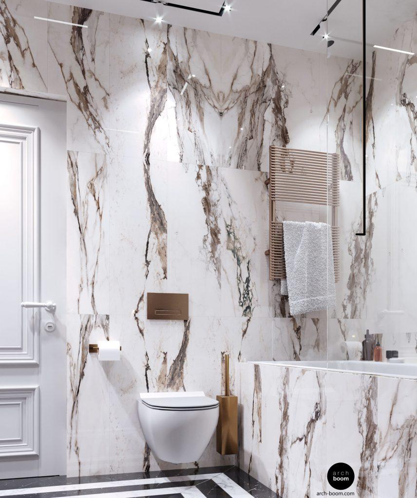 łazienka w białym marmurze  złote dodatki