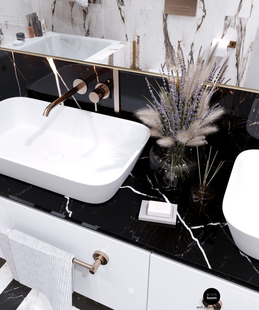 umywalki na blacie marmurowym