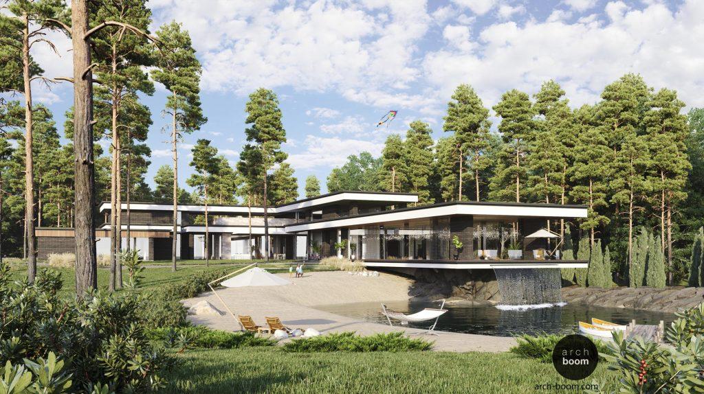 projekt budynku piętrowego z płaskim dachem