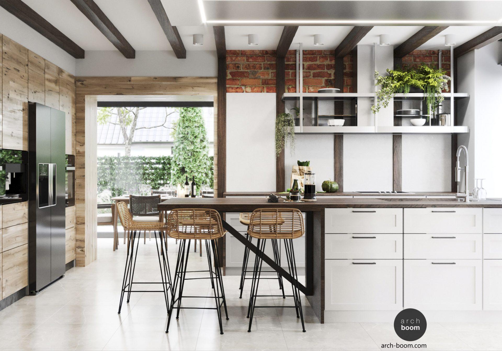 wnętrze kuchni drewniane belki na ściianach i suficie efekt wow