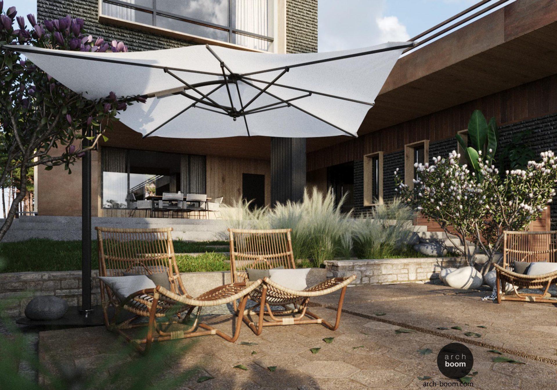ogród na skarpie z parasolem ogrodowym