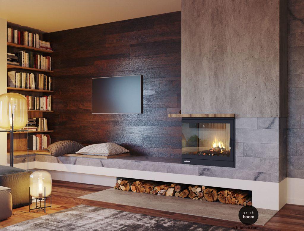 ściana z kominkiem w pokoju dziennym