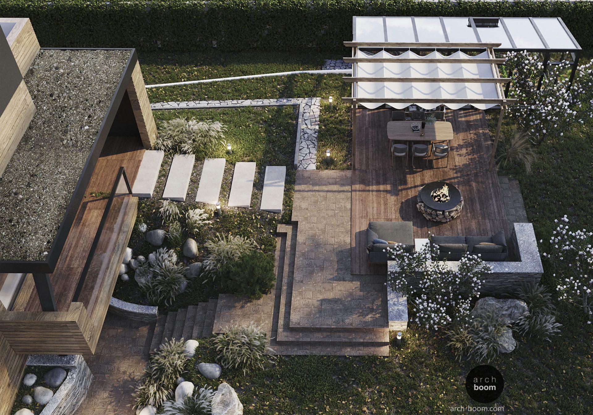 projekt ogrodu w nowoczesnym stylu z tarasem i bbq
