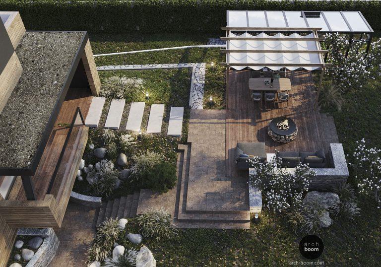 Nowoczesny ogród: wysoki taras na gruncie, ognisko, bbq
